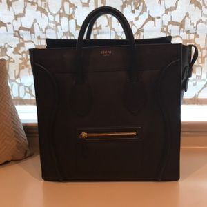 Authentic Celine leather Mini Luggage Tote, Black